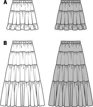 Tiered skirts give you the pure feeling of summer, and are first choice for wearing to open-air events. Fun in both mini or maxi lengths. The sewing may a bit more time-consuming, but the patience pays off.  AB: Elastic, 1-1/4 ins (3 cm) wide: 26–34 ins (65–85 cm).
