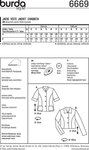 Jacket – Short Sleeve Jacket – Half-sizes (Short Sizes) A stylish companion throughout the day, this style can go from sporty to ladylike worn with jeans or teamed up with a matching skirt or dress for a costume suit. Panel seams sculpt it to your figure.  AB: Fusible interfacing, 36 x 28 ins (90 cm x 70 cm). A: 4 buttons. A leftover piece of lining (for the pockets). B: 3 buttons.