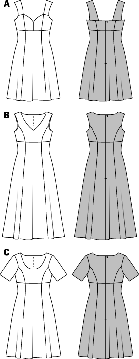 Dress – Strap Dress - Panel Seams – Half-sizes (Short Sizes) Sure to be favourites for sunny summer days, the short strap dress and the two longer dresses with varied necklines. All with an empire seam for a nice fit and with a flared skirt. ABC: Fusible interfacing, A: 36 x 24 ins (90 cm x 60 cm); BC: 36 x 12 ins (90 cm x 30 cm). Invisible zipper, A: 16 ins (40 cm); BC: 24 ins (60 cm) long.