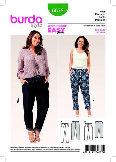 Trousers/Pants with Elastic Waist, Pockets