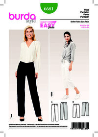 Burda 6681. Trousers/Pants, 3/4 Trousers/Pants, Narrow Legs.