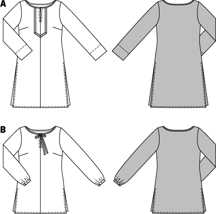 Tunic Top – Blouse  Two chic styles for a tunic top and blouse, both quick and easy to sew. Each has side slits and binding at the neckline as an added detail. The center front seam is left open to create the front slit. For view A, the slit is embellished with trim. The long sleeves on view B have an elastic gathering.  A: 1 button. Trim, 3/4 in (2 cm) wide, 28–32 ins (70–80 cm). Bias tape, 1-1/4 ins (3 cm) wide, 28–32 ins (70–80 cm). B: Elastic, 5/8 in (1.5 cm) wide, 18 - 22 ins (45–55 cm). Pre-folded bias tape, 5/8 in/1-1/4 ins (1.5/3 cm) wide, 1-3/4 yds (1.50–1.60 m).