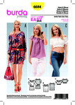 Burda 6684. Dress, Blouse, Cropped Blouse, Elastic Casing.