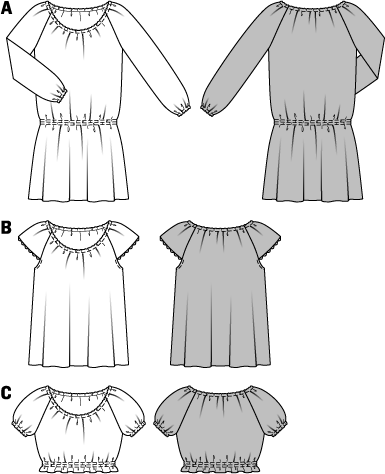 Airy dress and blouses in two lengths with raglan sleeves. The elastic neckline allows you to wear it off the shoulder if you like. Dress view A has long sleeves and an elastic waist. The Carmen blouse view B has short sleeves. The mid-drift blouse view C is held at the lower edge with elastic. ABC: Elastic, 3/16 in (0.5 cm) wide, A: 1-1/4–1-5/8 yds (1.10–1.40 m); B: 7/8–1-1/8 yds (0.75–1.00 m); C: 3-1/8–4-1/8 yds (2.75–3.65 m). B: Lace trim, 5/8 in (1.5 cm) wide, 30 ins (75 cm).