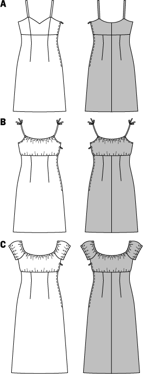Delicate strap dresses for hot summer days and party nights. All feature a high waist, and either a V-neck or gathered neckline with straps coming out of the drawstring casing. The elastic neckline and small puff sleeves on view C allow individual styling options.   ABC: Zipper, 16 ins (40 cm) long. C: Elastic, 3/8 in (1 cm) wide, 1-7/8–2-1/4 yds (1.65–2.00 m).