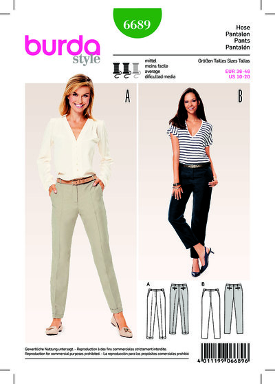Pants/Trousers, Shaped Waistband, Pressed Creases
