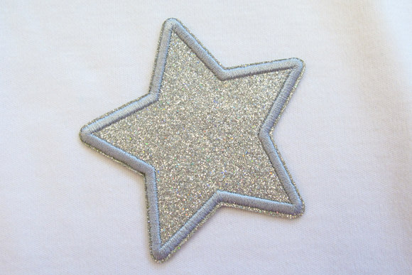 Silver star patch diameter 7cm