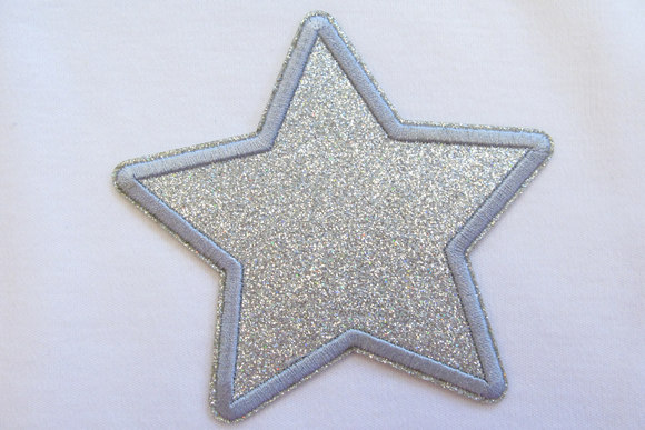 Silver star patch diameter 9cm