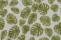Deko-fabric in linen-look with olive-green filodendron leaves