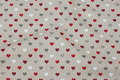 Deko-fabric in linen-look with small hearts and gold-glitter