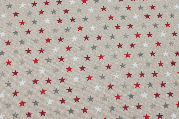 Deko-fabric in linen-look with small stars and gold-glitter