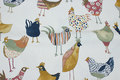 Off-white, medium-thickness cotton with fun chickens