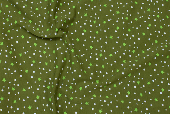 Olive-green cotton-jersey with small light green stars