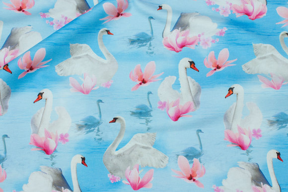 Light blue cotton-jersey with swans