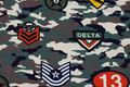 Lightweight camouflage-sweatshirt fabric with military motifs