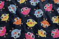 Navy, supersoft micro-fleece with colorful baby-birds