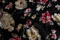 Black silky-velvet with beautiful flowers