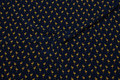 Navy blouse-micropolyester with small brass-yellow flamingos