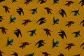 Brass-yellow blouse-micropolyester with hummingbirds
