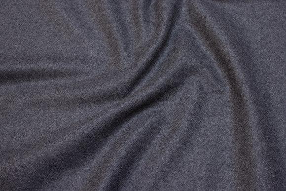 Medium-thickness medium-grey wool-polyester flannel