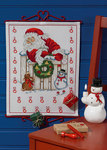 Christmas gift calendar with santa claus behind the door