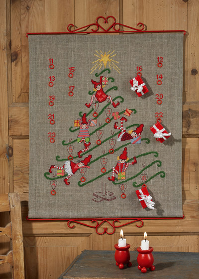 Christmas calendar in linen with cute elfs
