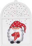 Christmas embroidery image with elf and star sky