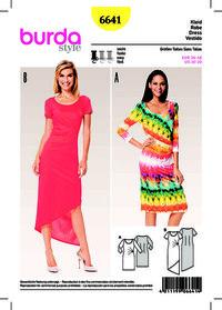 Jersey Dress, Round Neckline, Side Pleats. Burda 6641.