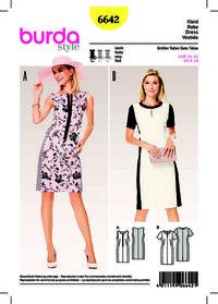 Dress, Sheath Dress with Panel Seams. Burda 6642.