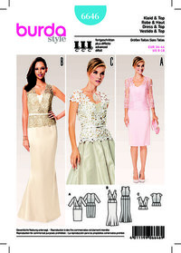 Evening Dress, Lace Top with V-Neck and Peplum. Burda 6646.
