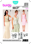 Burda 6646. Evening Dress, Lace Top with V-Neck and Peplum.