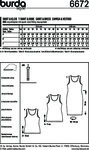 A simple top in two lengths and the jersey dress with a round neckline will show off your curves. Bust darts beginning from size 28 (54) will ensure a good fit. This is a garment to just slip over for summer fun. Tip: Wear shapewear underneath to create a lovely silhouette.  ABC: A twin sewing machine needle.