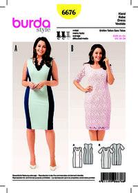Jersey Dress, Lace Dress, Panel Seams. Burda 6676.