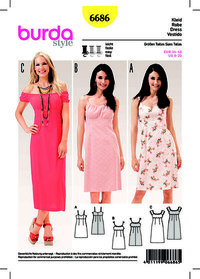 Burda 6686. Dress, Strap Dress, Carmen Dress, Empire Seam.