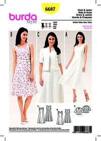 Dress, Jacket, Panel Seams. Burda 6687.