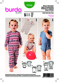 Baby Bodysuit, Rompers, Fastened Between the Legs. Burda 9384.