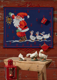 Christmas gift calendar in blue with Santa and geese. Permin 34-4242.