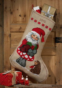 Big Christmas sock with cute elf and hedgehog. Permin 41-4248.
