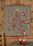 Permin 4243-34. Christmas calendar in linen with cute elfs.