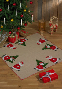 Christmas tree skirt, square, with cute elfs and pine tree. Permin 4252-45.