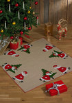Permin 4252-45. Christmas tree skirt, square, with cute elfs and pine tree.