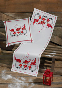White Christmas table runner and pillow with three elfs. Permin 4257-68.