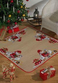 Christmas tree skirt, square, santa claus and geese. Permin 45-4251.