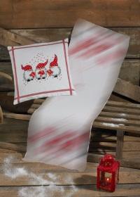 White Christmas pillowwith three elfs. Permin .