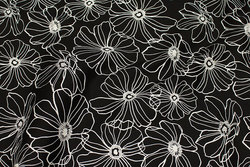 Black cotton satin with stretch and white line-flowers