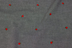 Black speckled shirt-denim with small red embroidery roses