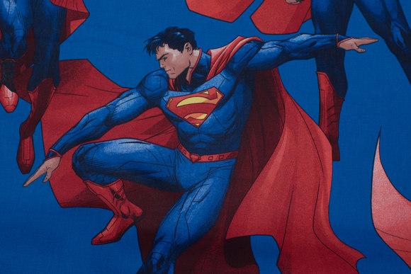 Blue, firm cotton with big Superman motifs