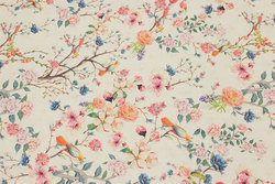 Cotton-canvas in creme-colored with flowers and birds