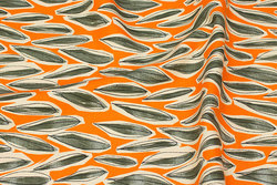 Cotton-canvas in orange and grey-green