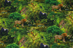 Cotton-jersey with animals in jungle